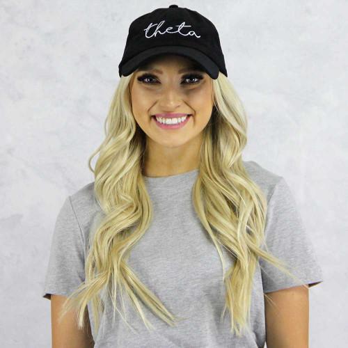Kappa Alpha Theta Baseball Hat in Black Corduroy