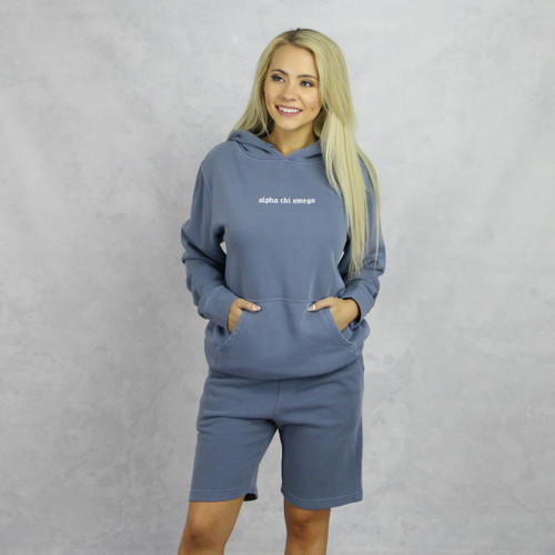 Alpha Chi Omega Blue Hoodie and Shorts