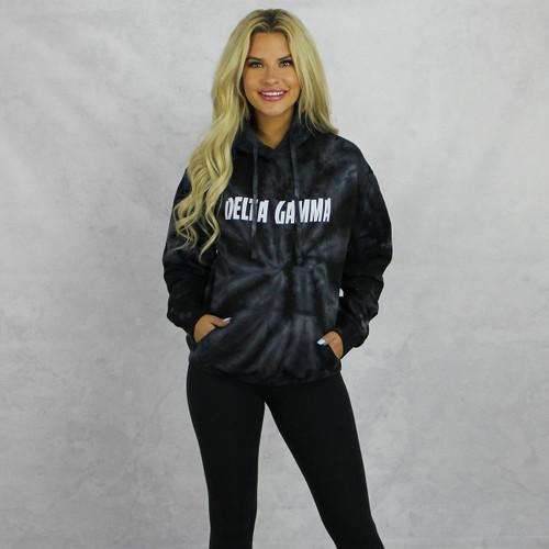 Delta Gamma Tie Dye Hoodie in Black