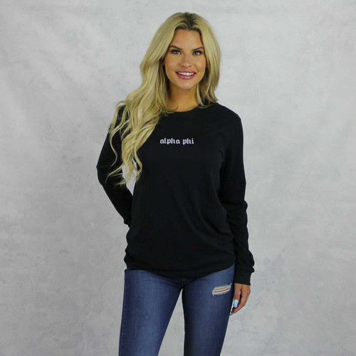 Alpha Phi Long Sleeve T-Shirt in Black