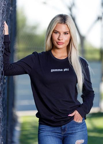 Gamma Phi Beta Long Sleeve Shirt in Black Main