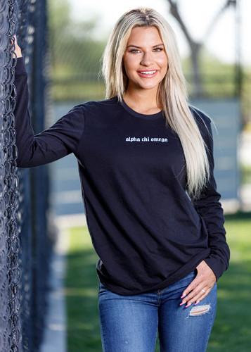 Alpha Chi Omega Long Sleeve T-Shirt in Black  Main