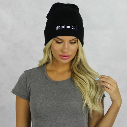 Gamma Phi Beta Black Beanie