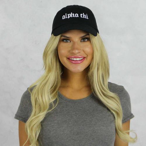 Alpha Chi Omega Baseball Hat in Black
