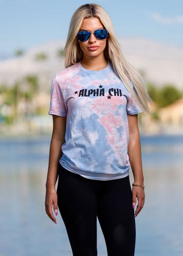 Alpha Chi Omega Short Sleeve Tie Dye T-Shirt Main