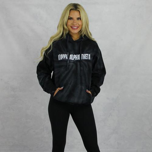 Kappa Alpha Theta Tie Dye Hoodie in Black