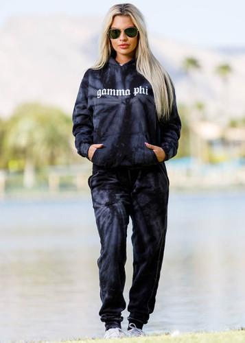 Gamma Phi Beta Tie Dye Hoodie in Black Main