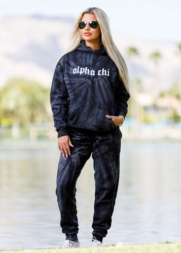 Alpha Chi Omega Tie Dye Hoodie in Black Main