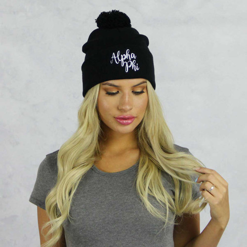 Alpha Phi Beanie in Black