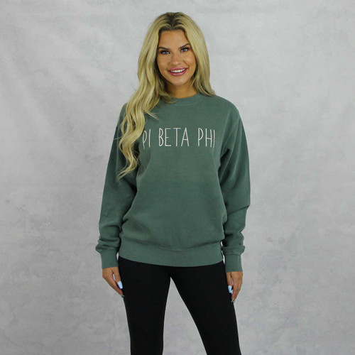 Pi Beta Phi Embroidered Sweatshirt in Green