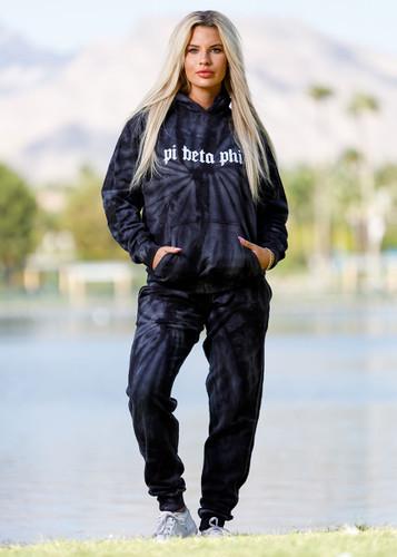 Pi Beta Phi Tie Dye Hoodie in Black