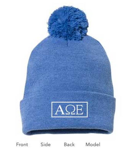 Alpha Omega Epsilon Pom Beanie in Blue