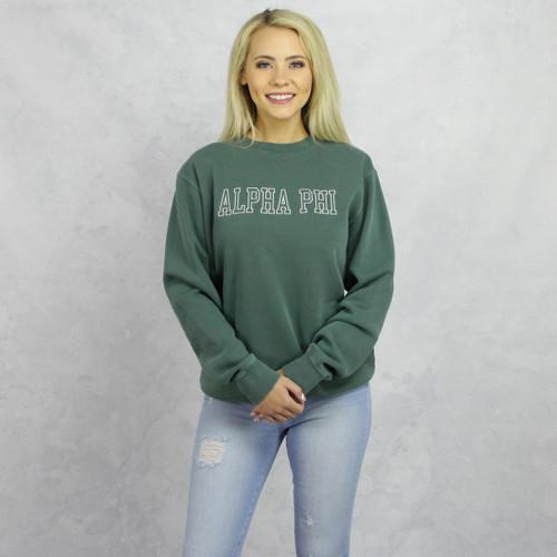 Green Alpha Phi Embroidered Sweatshirt