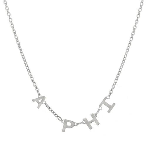 Alpha Phi Silver Letter Necklace
