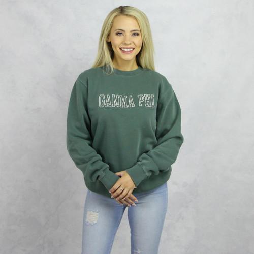 Green Gamma Phi Beta Embroidered Sweatshirt