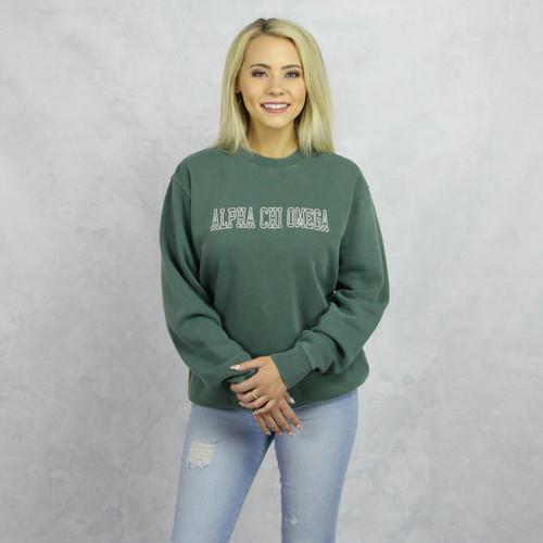 Green Alpha Chi Omega Embroidered Sweatshirt Main