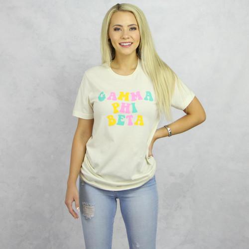 Gamma Phi Beta T-Shirt - Tan Short Sleeve Tee Main