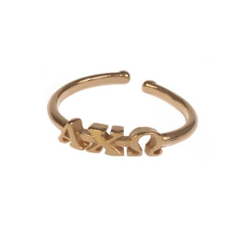 Alpha Chi Omega Gold Adjustable Ring