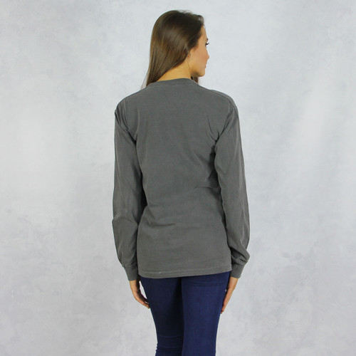 Alpha Phi Comfort Colors Long Sleeve T-Shirt in Dark Gray Back