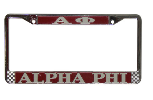 Alpha Phi Metal License Plate Frame