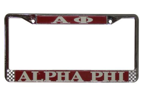 Alpha Phi Metal License Plate Frame