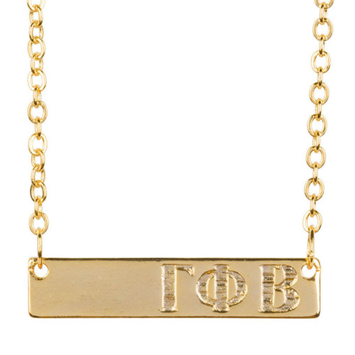 Gamma Phi Beta Gold Bar Necklace