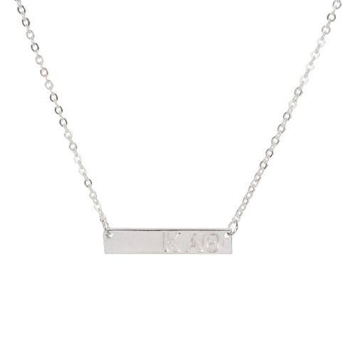 Kappa Alpha Theta Silver Bar Necklace