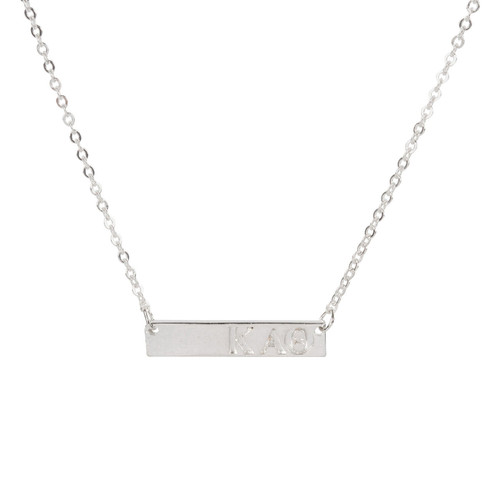 Kappa Alpha Theta Silver Bar Necklace
