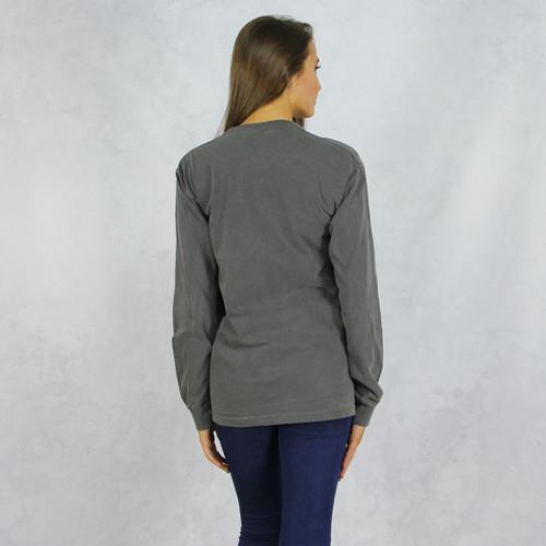 68084f71 Kappa Alpha Theta Comfort Colors Long Sleeve T-Shirt in Dark Gray Back