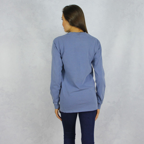 Kappa Kappa Gamma Comfort Colors Long Sleeve T-Shirt in Denim  Back
