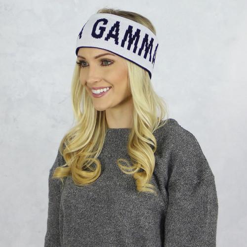 Delta Gamma Reversible Headband and Ear Warmer White