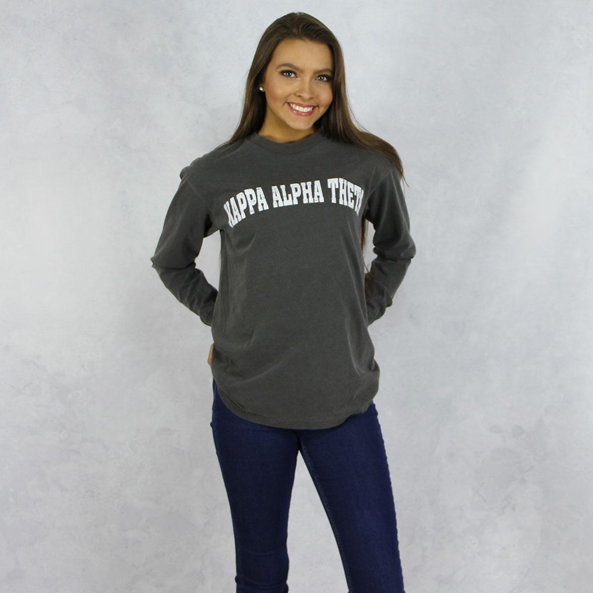 b15ac166 Kappa Alpha Theta - Comfort Colors Long Sleeve T-Shirt in Dark Gray