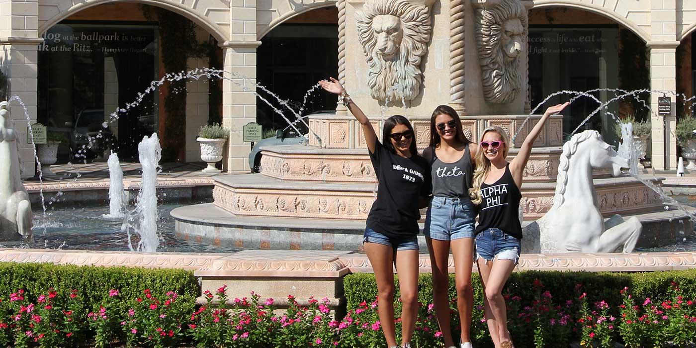 Sorority Girls fun in front of fountain
