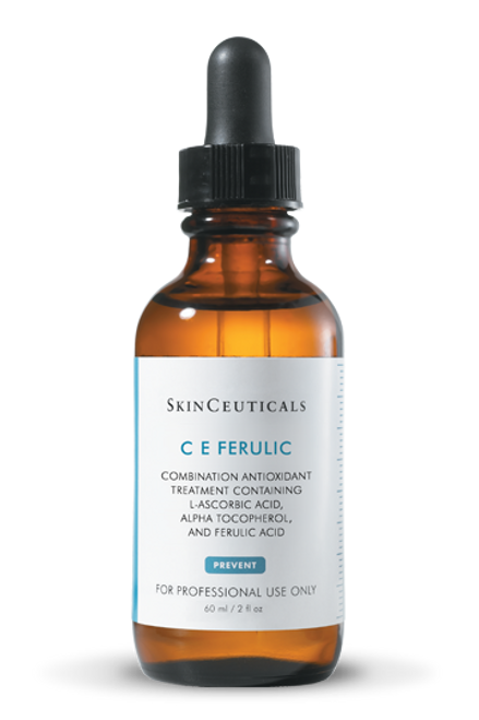 Vitamin C antioxidant serum with vitamin E and ferulic acid provides environmental protection, improves the appearance of visible signs of aging, and brightens the skin