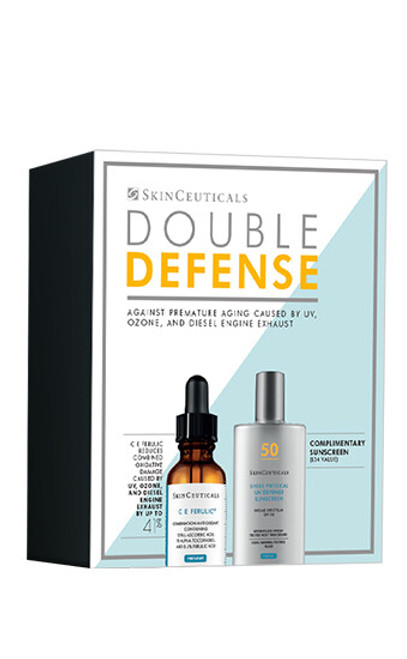 SkinCeuticals Double Defense Set is an ideal regimen for full-spectrum protection against premature aging caused by UV, ozone, and diesel engine exhaust.
