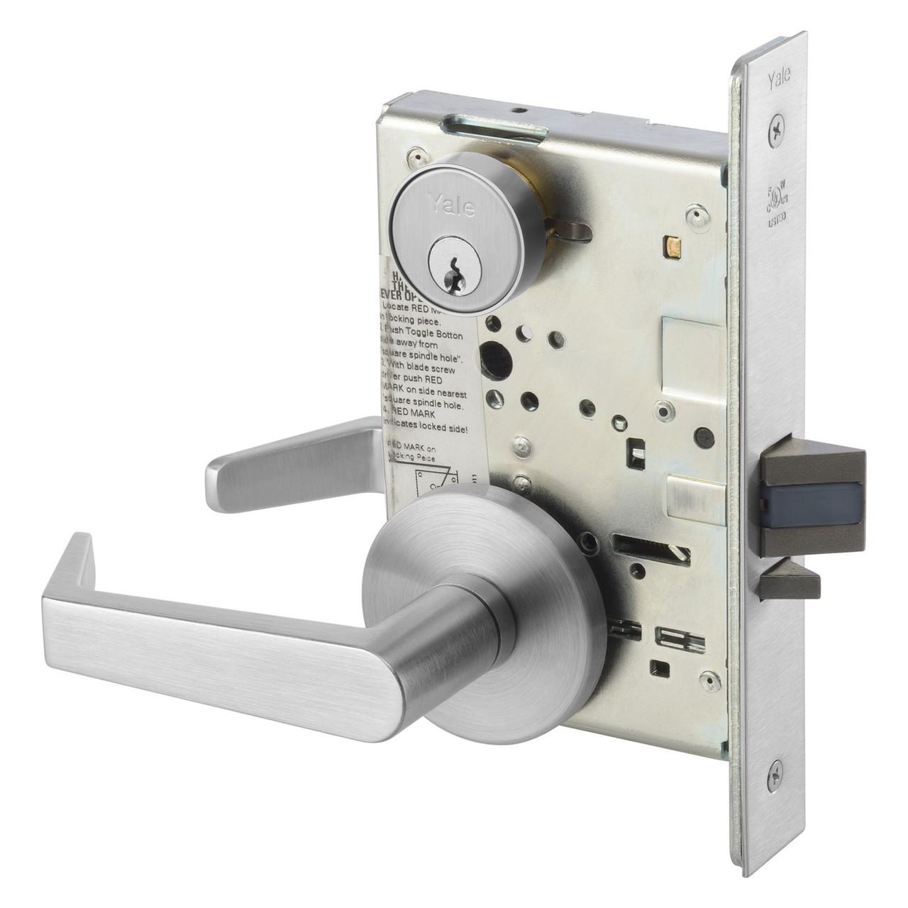 Yale 8800 Series Mortise Storeroom Lock, AUR Trim, Satin Chrome