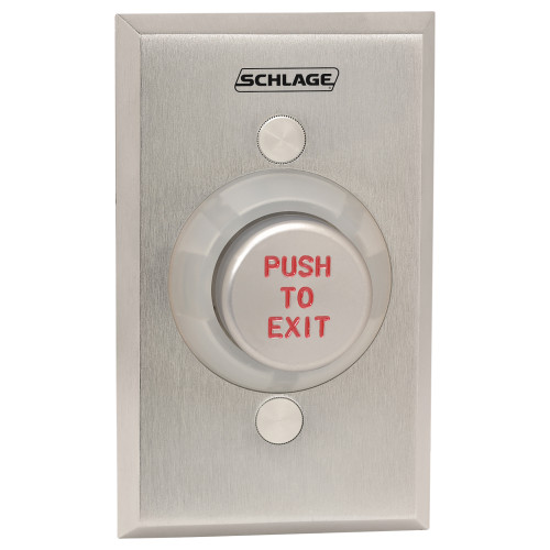 "1-1/4"" Metal Button, Single Gang, Aluminum Button Engraved ""PUSH TO EXIT"", Delayed Action (0-60 Seconds)"