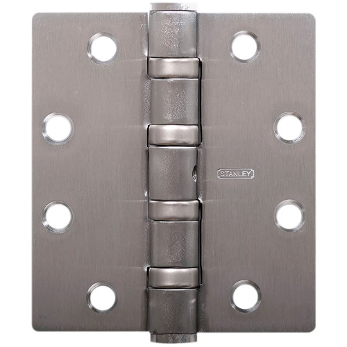 Five Knuckle Ball Bearing Architectural Hinge, Brass, Bronze or Stainless Steel Full Mortise, Heavy Weight, 4-1/2 In. by 4-1/2 In., Square Corner, Satin Chrome