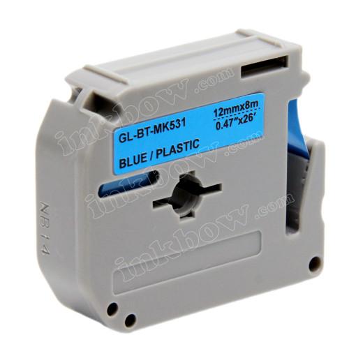 Compatible M-K531 Label Tape for Brother Printer (12mm Black on Blue)