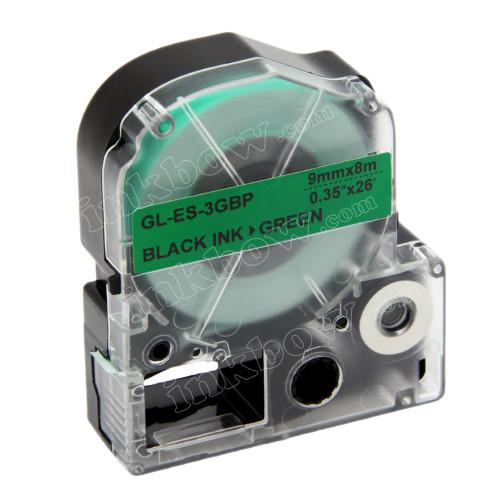 Compatible LK-3GBP Label Tape for Epson Printer (9mm Black on Green)