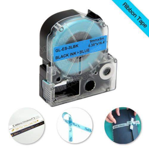 Compatible LK-3LBK Ribbon Label Tape for Epson Printer (9mm Black on Blue)
