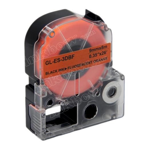 Compatible LK-3DBF Label Tape for Epson Printer (9mm Black on Fluorescent Orange)