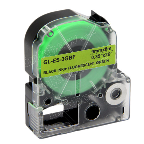 Compatible LK-3GBF Label Tape for Epson Printer (9mm Black on Fluorescent Green)