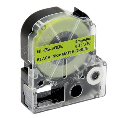 Compatible LK-3GBE Label Tape for Epson Printer (9mm Black on Matte Green)