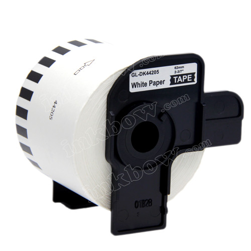 Compatible DK-44205 Continuous Length Removable Paper Tape for Brother Printer (Black on White)