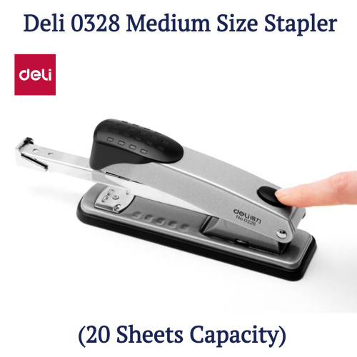 Deli 0328 Medium Size Stapler (20 Sheets Capacity)