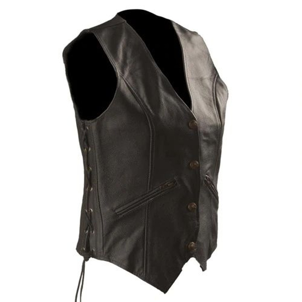Womens Motorcycle Leather Vest with Zip Pocket