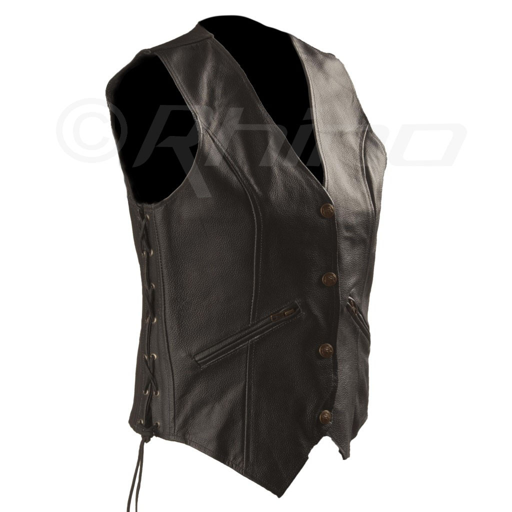 Womens Motorcycle Leather Vest with Zip Pocket - side view