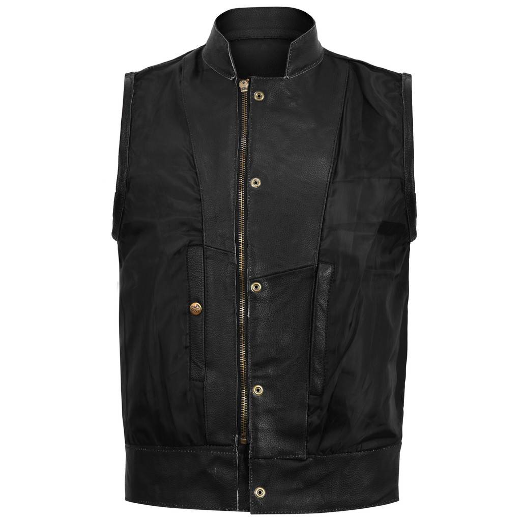 Sons of Anarchy Style Leather Vest - Black - inside view