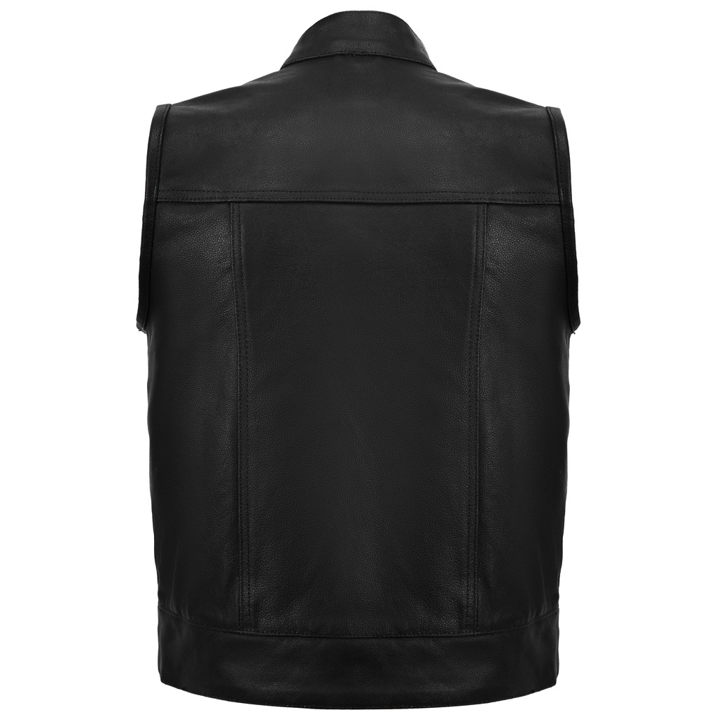 Sons of Anarchy Style Leather Vest - Black - back view